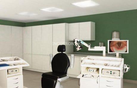 Mobiliario clínico hospitalario para consulta ORL, con equipamiento integral.